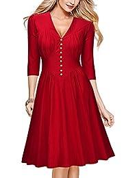 Miusol® Damen Winter 3/4 Arm Vintage Knöpfe Cocktailkleid Rockabilly 50er Jahr Party Kleid Schwarz/Rot EU 36-48
