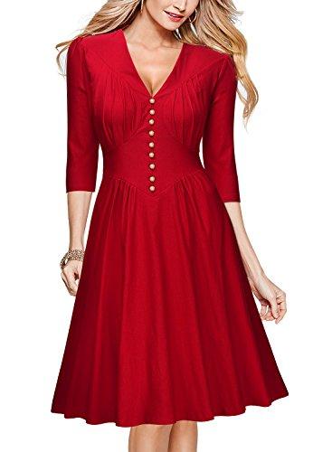 Miusol-Damen-34-Arm-Abendkleid-Knielang-Cocktailkleid-Rockabilly-Vintage-50er-Jahr-Party-Kleid-SchwarzRot-EU-36-48