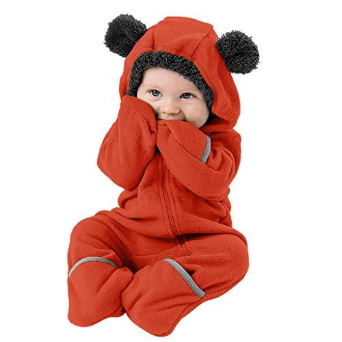 ➤Refill➤Baby Overall mit Kapuze Wollfleece Fleece Strampler Winterjacke Mädchen Jungen Warm Outfits 0-49 Monate Footed Spielanzug Jumpsuit