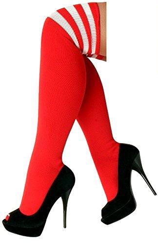 krautwear® Damen Mädchen Kinder Cheerleader Kniestrümpfe mit 3 Streifen Gestreifte Overknees Geringelte Strümpfe Geringelt Socks Gestreift Streifen Cosplay Schwarz Weiß Rot Rosa Neon (r/w)