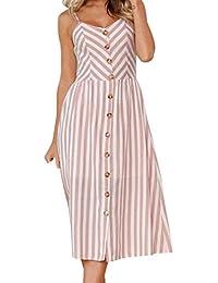 Yanhoo Frauen Sommer Sexy Knöpfe Solide aus Schulter ärmelloses Kleid  Prinzessin Hochzeit Abendkleid Jerseykleid Knielang Elegant a00549daa9