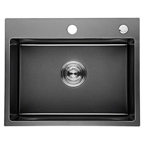 Auralum Lavelli da cucina con vasca singola grigia in acciaio Inox spazzolato