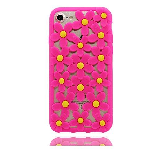 iPhone 6s Custodia, TPU Stylish Soft flessibile protettivo indietro leggero Case iPhone 6/6S Copertura 4.7 evidente Skin Shell Cartoon fiore rosso Flower, Shock Proof Rosa
