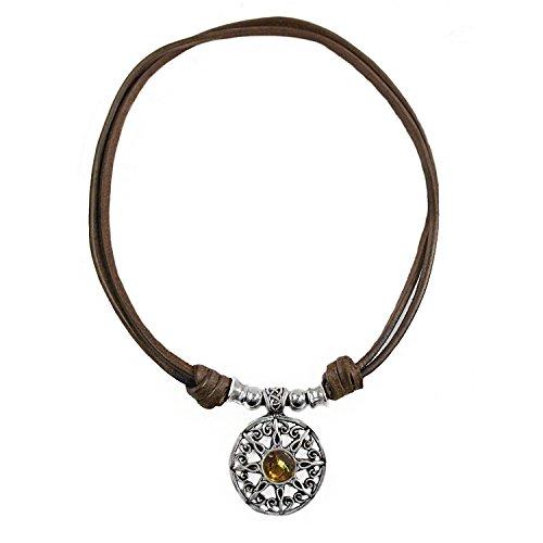 Beau Soleil Jewelry Damen Lederkette/Halskette mit Bernstein Sonnen Anhänger. Längenverstellbar Lederschmuck mit Edelstein