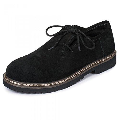 PAULGOS Trachtenschuhe Echt Leder Haferlschuhe Haferl Trachten Schuhe in 3 Farben Gr. 39-47, Farbe:Schwarz, Schuhgröße:39