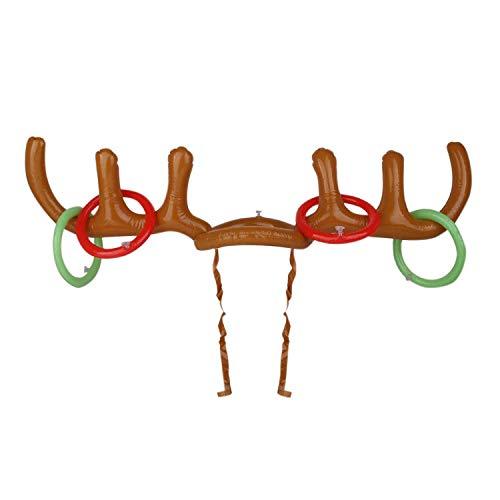 YASSON Spiel Aufblasbare Rentiere Hut Geweih Hut mit Ringe Ringwurf Spiel für Weihnachten Hochzeit Geburtstag Graduierung Halloween Feier 80 * 38cm