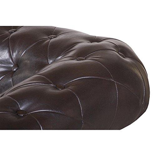 3-Sitzer Chesterfield Sofa Couch Garnitur ENIO, Kunstleder in antikbraun englischer Stil - 3