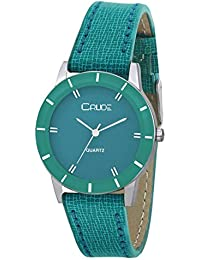Crude Analog Green Dial With Green Leather Strap Watch- For - Women's & Girls Rg2035