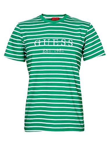 Guess Stripe Motif Logo T- Shirt Herren (L, Grün)