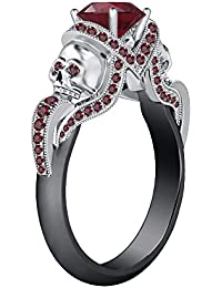 Silvernshine 1.52Ct Red Garnet CZ Diamond Wedding Two Skull Design Ring 14K Black & WhiteGold PL