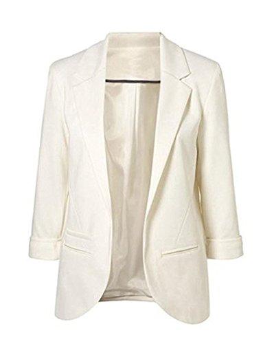 LuShmily Damen Boyfriend Blazer XL, - Weiß