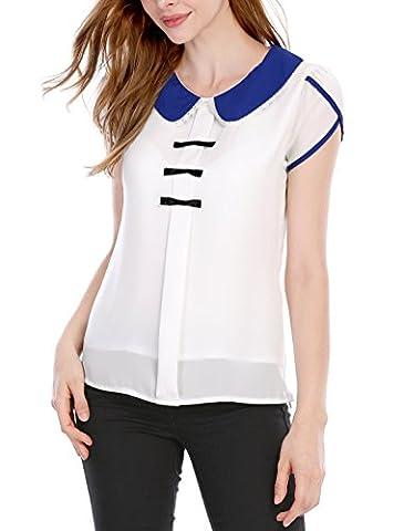 Allegra K Damen Peter Pan-Kragen Pullover-Design-Sweet Bluse, hinten, Weiß, M (UK 12) (Peter In Ein Pan-kostüm)