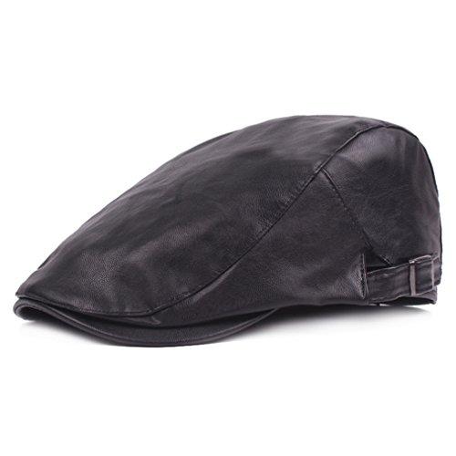 Men Newsboy Cap Leather Beret Leather Cap Flat Caps Winter Driving Caps (Black) Leder Driving Caps Für Männer
