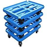 Transportroller 4er Pack für Boxen 600x400mm, blauer PP Gitter Rahmen 4x Kunststoff-Lenkrolle, PP Kunststoffrad schwarz ø 100mm