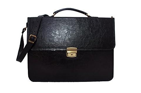 Koson Leather Black Hand-crafted italian black briefcase messenger bag laptop