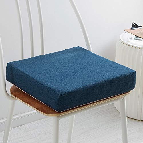 YEARLY Solid Color Non-Slip Galette De Chaise, Épaissir Tatami Coussin De Siege Indoor Plein Air 35d éponge Mat Respirabilité Bourré Coussins De Chaise-Bleu 40x40x6cm(16x16x2inch)