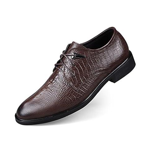 ailishabroy Chaussures en cuir véritable pour homme Hommes Entreprise Chaussures habillées en uniforme (44 EU, Marron