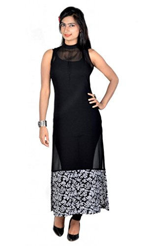 Vivaa Women Georgette Kurta (Vnk-18_M _Black _Medium)