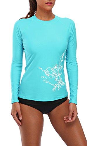BeautyIn Damen Bademode UV-Schutz Langarm Shirt Rash Guard Oberteil UPF 50+ Blau 40 (Rash Shirt Guard)