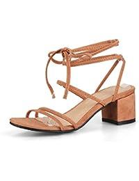 MEI&S Les Femmes Boucle Milieu Rude Talons Chaussures Bouche Peu Profondes,Jaune,Pompes 37