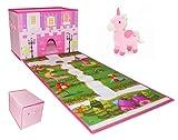 Caja plegable para guardar juguetes con pista de carreras y 4 carros de juguete de resorte, organizador de juguetes plegable y ligero, caja de juguetes fácil de transportar (Unicornio No Incluido)