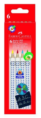 Faber-Castell 110806 - Farbstifte Jumbo GRIP für Heft & Tafel, 6er Kartonetui, Inhalt: weiß, gelb, rot, blau, grün und braun