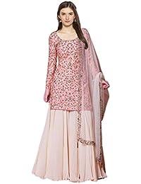 FEXEL Women's embroidered Semi stitich Net & Georgette Sharara Salwar Suit With Dupatta