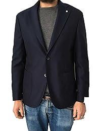 LUIGI BIANCHI MANTOVA giacca uomo mod TRAVELLING JACKET blu 100% lana  vestibilità slim 3d769822d9b
