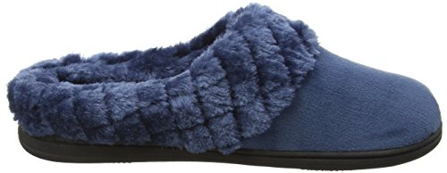 Dearfoams Damen Velour Clog with Quilted Pile Cuff and Memory Foam Hausschuhe Blue (Blue Topaz 10386)