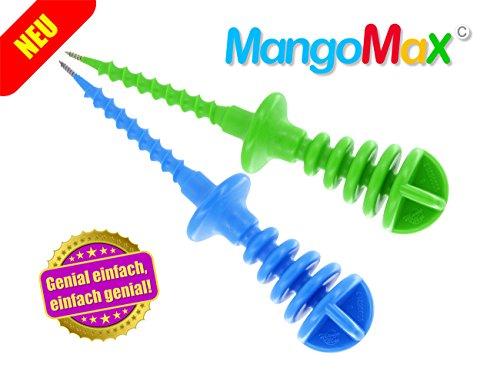 """MangoMax mit Edelstahlspitze - Mangos zubereiten war nie einfacher? MangoMax einfach in den Kern der Mango eindrehen, Mango schälen und schneiden, fertig. Kein """"Gematsche"""", ihre Hände bleiben sauber und ihre Küche auch!"""
