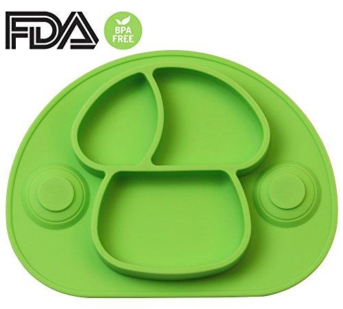 DEBAIJIA Bebé Niños Plato de Silicona Fuerte Succión Ventosa Divididas Placemat Grado Alimenticio Infantil Antideslizante FDA y Sin BPA, Microonda, Lavavajillas, Congelador Seguro - Verde