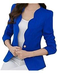Ropa Trabajo Oficina Mujer Primavera Otoño Manga Larga Traje Ajustado Chaquetas Damas Color Sólido Borde Ondulado