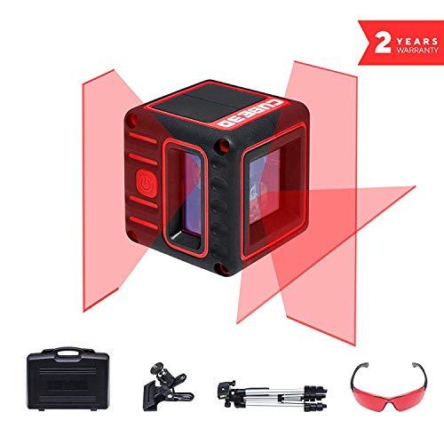 ADA Cube 3D Ultimate - Selbstausrichtende Laserwasserwage mit Kreuzstrahlen, 20m Arbeitsbereich (70m Modus mit Laser-Receiver). 2 vertikale und 1 horizontaler Strahl