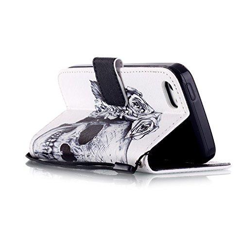 SainCat Apple iPhone 5c Custodia in Pelle,Anti-Scratch Protettiva Corpertura Caso Custodia Per iPhone 5c,Elegante Creativa Dipinto Pattern Design PU Leather Flip Ultra Slim Sottile Morbida Portafoglio cranio floreale