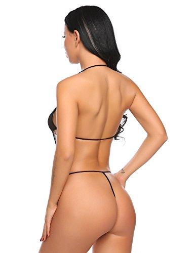 Avidlove Damen Stringbody aus Netz Neckholder Body mit tiefem Ausschnitt ohne Bügel Sexy Unterwäsche Reizwäsche Schwarz