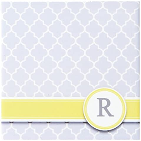 3dRose cst_154584_3 Your Personal Name Initial Letter R Monogram Grey Quatrefoil Pattern Personalize Yellow Gray Ceramic Tile Coasters, Set of 4