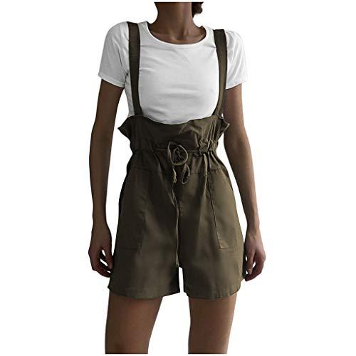 Jugend 6-pocket Pant (WooCo Shorts Damen Sommer Sale, hoch taillierte Khaki Shorts Jumpsuits Rosa Grün Pants Bandage Schnür-Strampler Overalls mit Pocket(Grün,S))