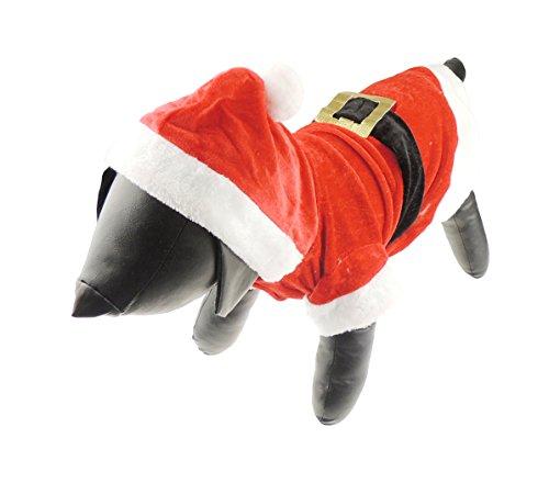 Hund Katze Festliche Weihnachten rot Santa Claus Warm Winter Jumper Coat Outfit Kostüm Velours