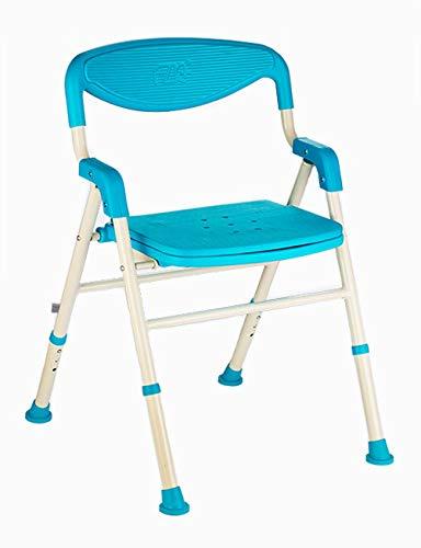 Kugga Deluxe Badesitz mit Rücken und Arme, Verstellbare und Faltbare Bad Hocker Stuhl mit Breitem Sitz (Blau) -