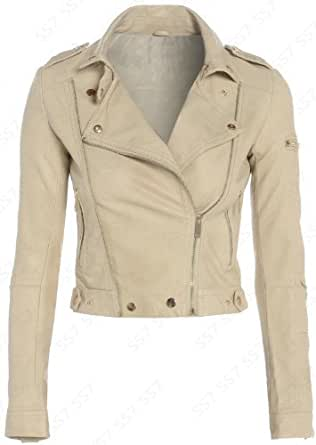 NEW Womens BIKER JACKET Crop FAUX LEATHER Ladies ZIP White Size 8 10 12 (UK - 8, Stone / Beige)