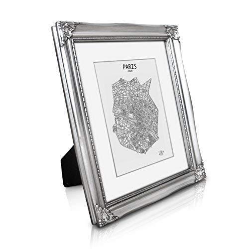 Antik Bilderrahmen 20x25 cm - Shabby Chic mit Passepartout für 13x18 Fotos - Glasfront - 2,5 cm Rahmenbreite - Rokoko Barock Stil - Antik Silber