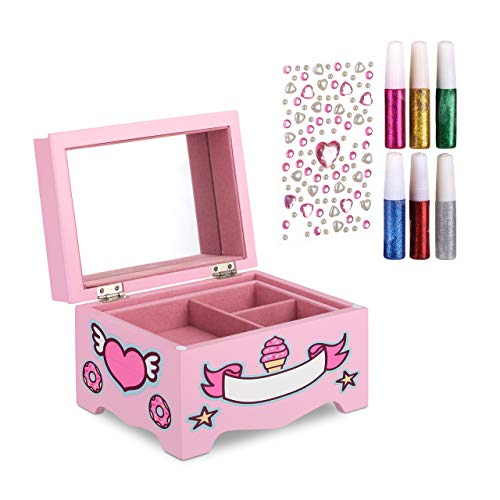 Relaxdays Joyero Infantil con Unicornio para Manualidades, DM-Cristal, Rosa, 13 x 21 x 14 cm