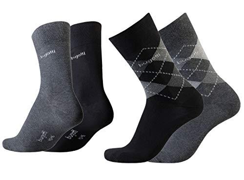 Bugatti Herren Socken 4er Pack Argyle + uni dark navy,anthrazit melange, Size:39-42, Farben:blk/ant -