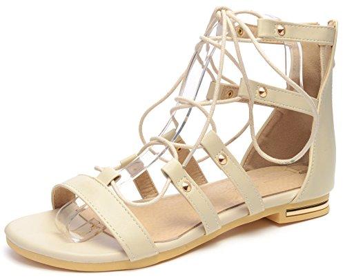 Odema Donne Tie-up Fasciata Sandale Plate Gladiateur Beige