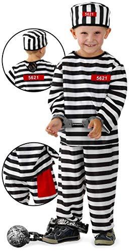 Gefängnis Sträfling Kostüm - Folat 21871 3tlg Straefling Gefangener Gefängnis Kostüm Jungen, Kinder Größe 116-134, Mehrfarbig, M