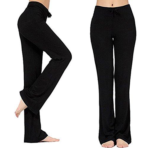 Frauen-Tunnelzug-Hose Modal Comfy Yoga-Hose Tanz und im Freiensport (XXL, Schwarz)