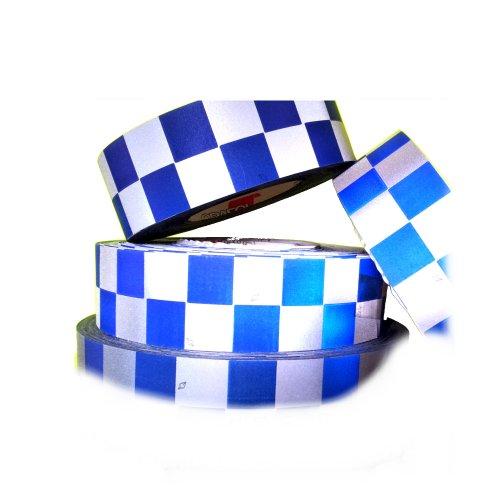 Reflektierende Silber Blauer Karo Checker Warnband Aufnäher Hi Viz Stoff, Baumwolle, Meterware, Länge 50 mm, geprüft nach EN 204 71:20 ISO 13 (Stoff Checker)