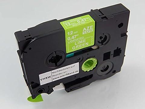 vhbw Cartouche cassette à ruban 12mm pour Brother P-Touch 1100SBVP, 1100ST, 1130, 1150, 1150DX, 1160, 1170 comme TZE-MQG35, TZ-MQG35