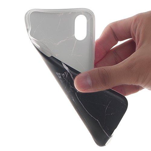 Cover iphone X Custodia iphone X Marmo Leton TPU Silicone Case Cover per Apple iphone X (5.8 pollici) Morbido Trasparente Flessibile Gel Copertura Shell Ultra Sottile Leggera Design Giallo Marmo Model Nero