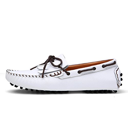 XiaoYouYu Moccassins Homme Cuir Plats Slip-on Loafers Loisirs Chaussures de conduite Blanc